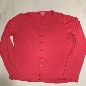 Lilly Pulitzer pink cardigan sweater, size XL